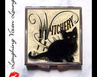 Ведьма Pill Box - Black Cat компактное зеркало - Ведьма компактное зеркало - Witchery Компактный - Черный кот Pill Box - Ведьма Pill Case - Pillbox