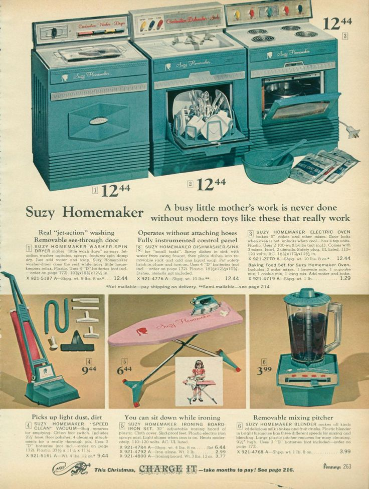 From the 1967 JCPenney toy catalog - full line of Suzy Homemaker toy appliances. (not shown - food mixer and grill.)