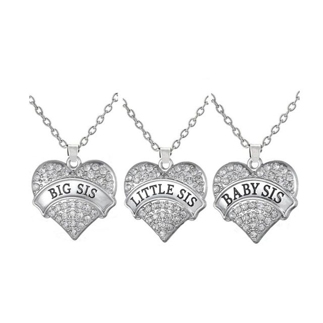 Set of 3 Big Sis Little Sis Baby Sis Crystal Heart Pendant Necklace Nature for Three Sisters Handmade Jewelry
