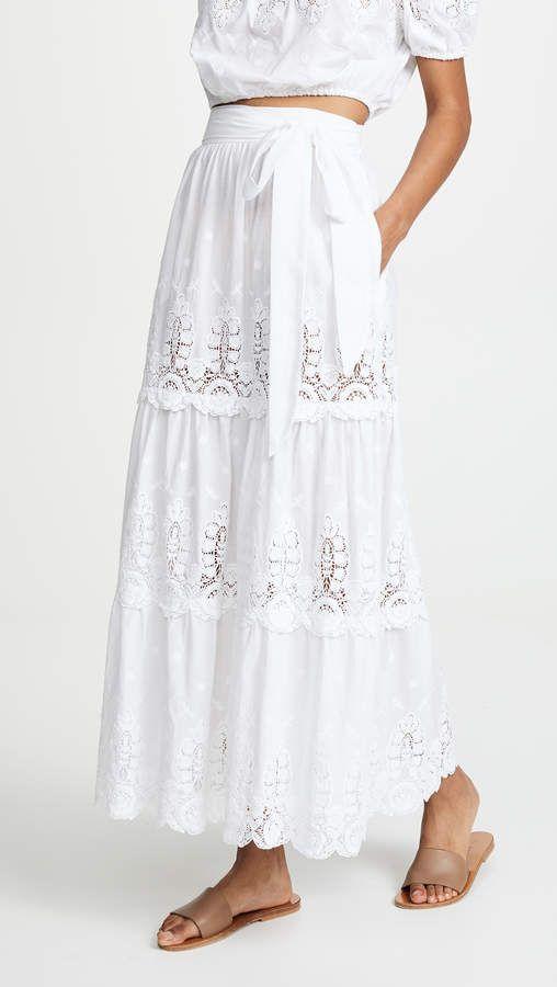 3ace1475f Miguelina Carina Skirt. White flower embroidery skirt. Crochet trim skirt.  White bohemian skirt. White boho maxi skirt. White bohemian maxi skirt.