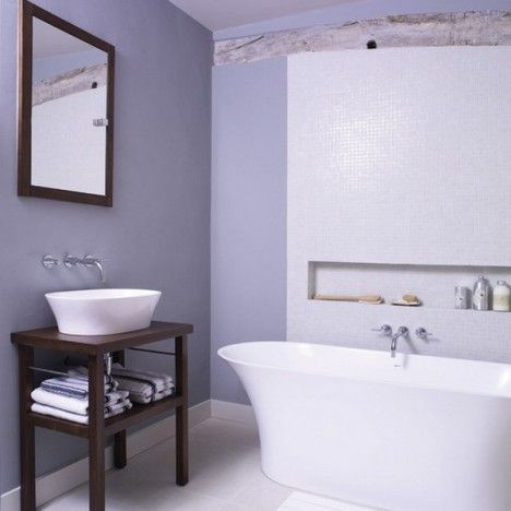 minimalist lilac bathroom design
