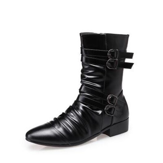 Patent Leather Cowhide New Stylish Horse Riding Men Western Boots Cowboy Pleated Belt Pointy Zip Square Cuban Heel Funky