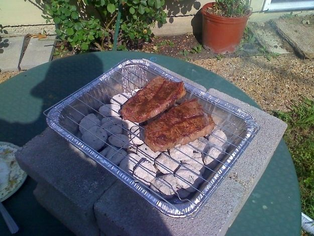 Turn cooling racks and lasagna pans into a quick bbq