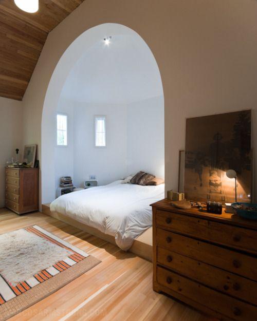 Amazing bed alcove.