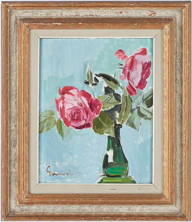 ISAAC GRÜNEWALD Stilleben med rosor. Olja på pannå.40 x 32 cm.