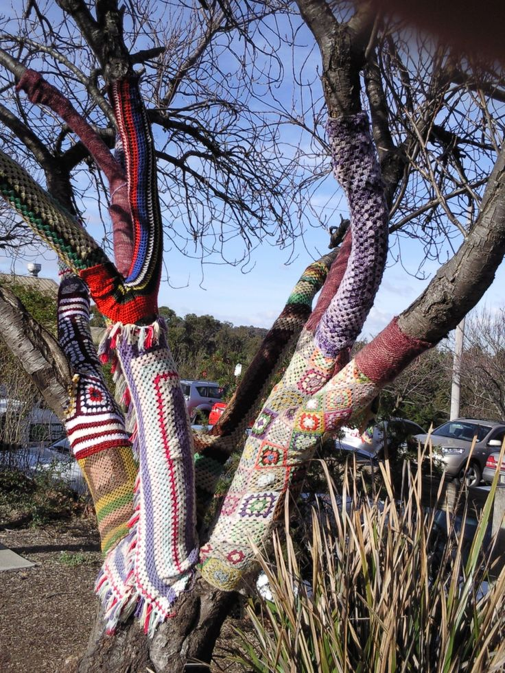 Belgrave Main Street interesting tree with creative crochet embelishments. Brightens up the winter streetscape!