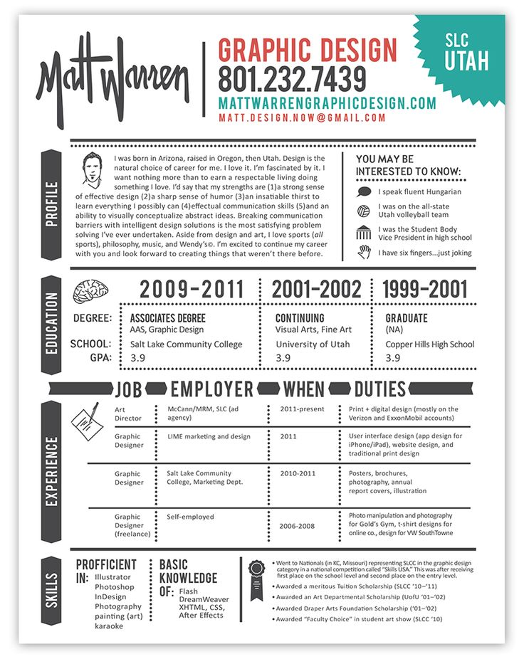 Another nice, intuitively organized resume that utilizes icons and graphics in an intelligent way... spelling, not so much.