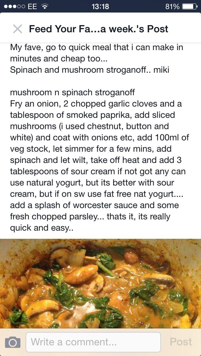 Mushroom & spinach stroganoff