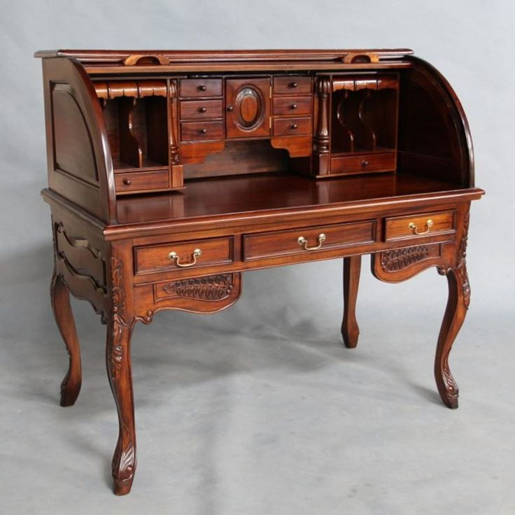 Solid Mahogany Wood Rolltop Writing Desk - Antique Reproduction Style