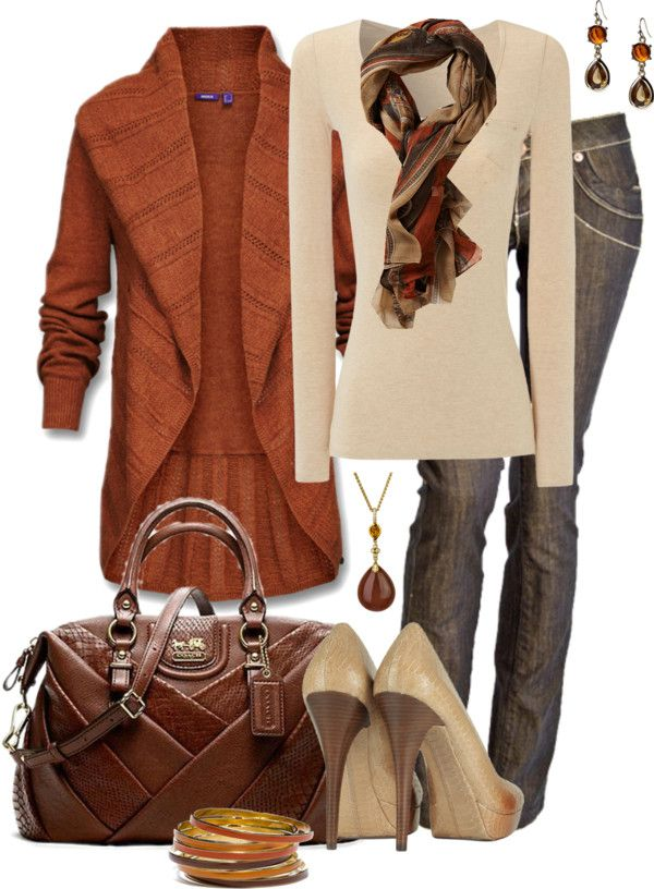 """Orange and Brown"" by averbeek on Polyvore. Not a fan of the shoes though"