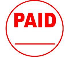 Round PAID w/ line under custom stamp