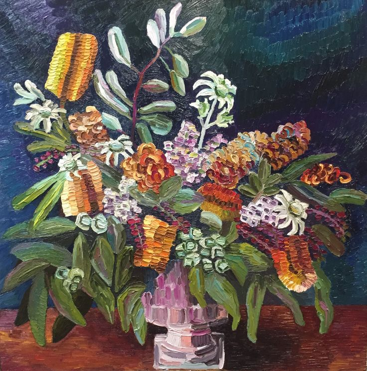 """Native Arrangement"" 30 x30"" / 76 x 76 cm oil on canvas, Elisabeth Howlett. Inspired by an image photographed by Botanics Sydney."
