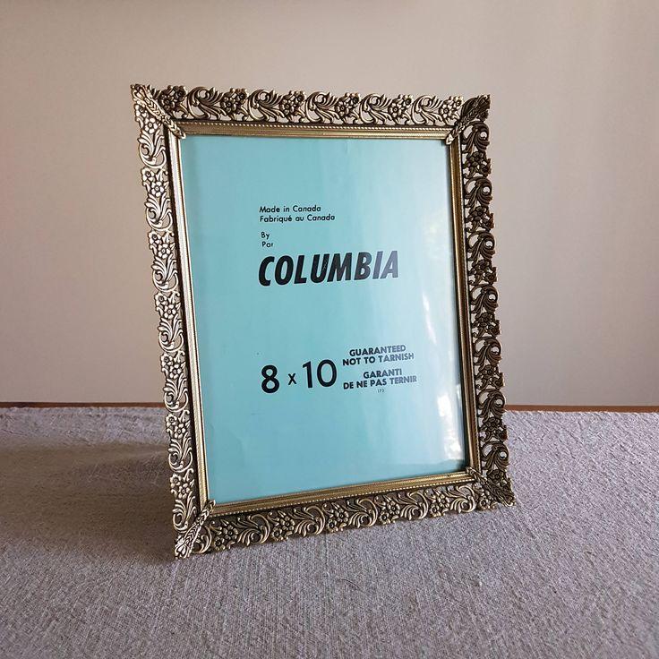 8 X 10 Gold Tone Metal Picture Frame Ornate Fl Design