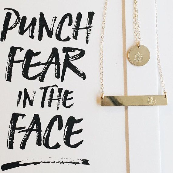 Boxing Glove Necklace Punch Fear in the Face Gold by ShopHope25