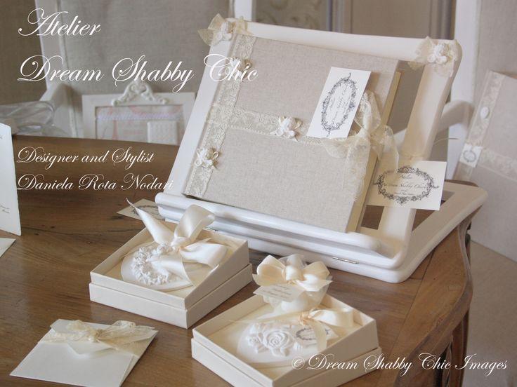 CADEAUX DE MARIAGE, BOMBONIERE INVITO E GUEST BOOK.  DESIGN DREAM SHABBY CHIC Design Daniela Rota Nodari  MADE IN ITALY       MILANO
