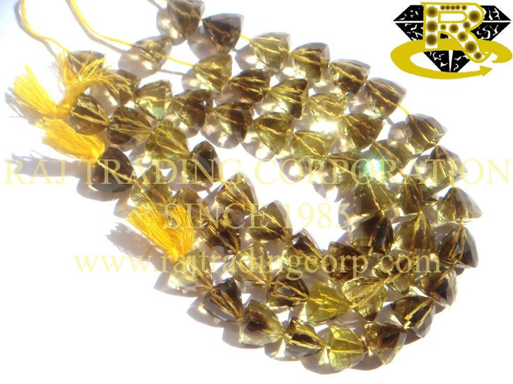 Bio Lemon Faceted Trillion (Quality AA) Shape: Trillion Faceted Length: 18 cm Weight Approx: 21 to 23 Grms. Size Approx: 10 to 11 mm Price $39.00 Each Strand