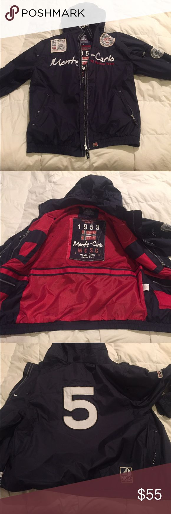 Geographical Norway Sailing Jacket Never worn! ( its an XL but fits like a L) Sailing jacket geographical Norway. Tons of pockets in it. Zip-away hood in the collar. Awesome jacket! geographical norway Jackets & Coats