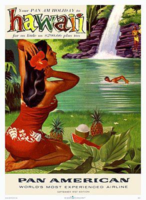 Pan American Poster hawaiian hawaii hibiscus water waterfall pond lily pad