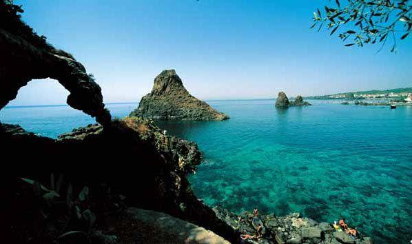 Cyclopes' rocks at Aci Trezza, province of Catania , Sicily region Italy