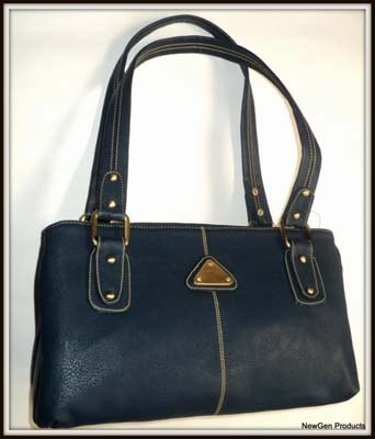 Blue Colour Fabric Mat Finish Material Handbag
