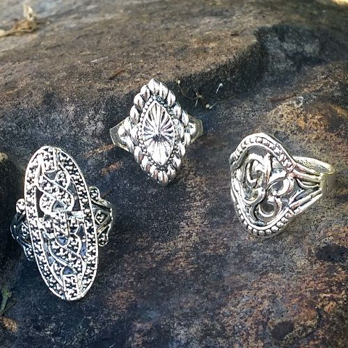 Antiqued Silver 3 piece ring set - sizes 8