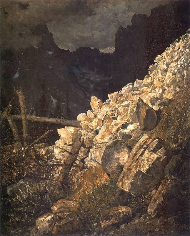 Tatra Mountains landscape (Zwał skalisty w Dolinie Białej Wody w Tatrach) - Wojciech Gerson 1892.