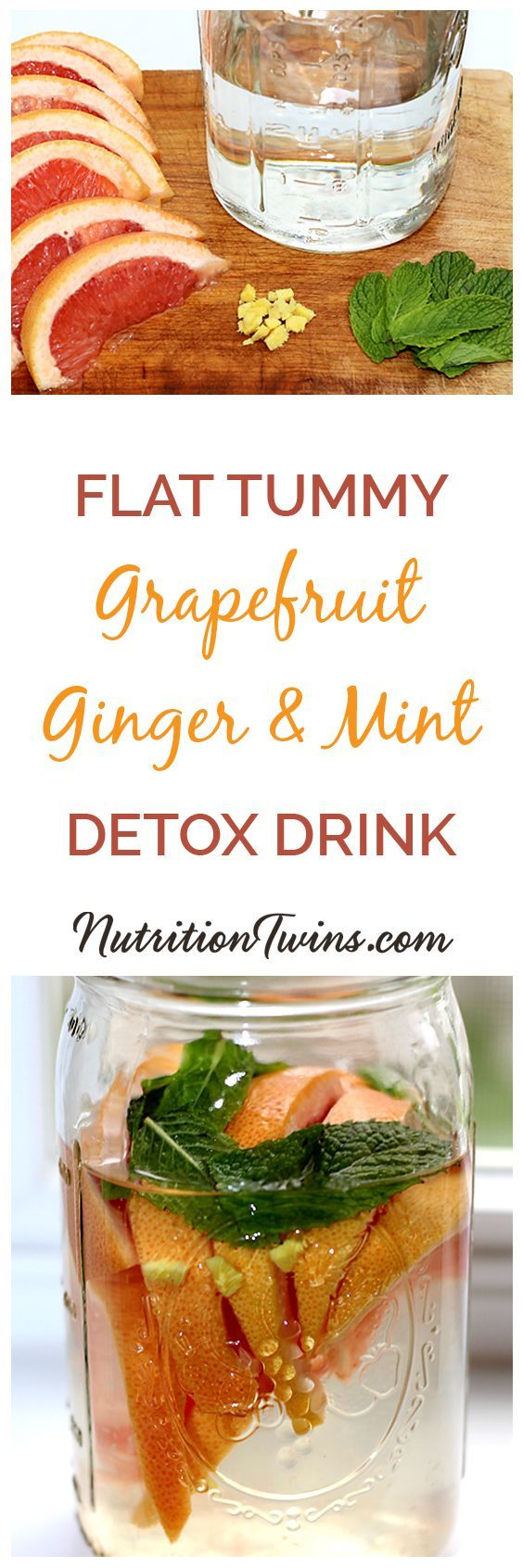 """Grapefruit Ginger Mint """"Detox"""" Drink 