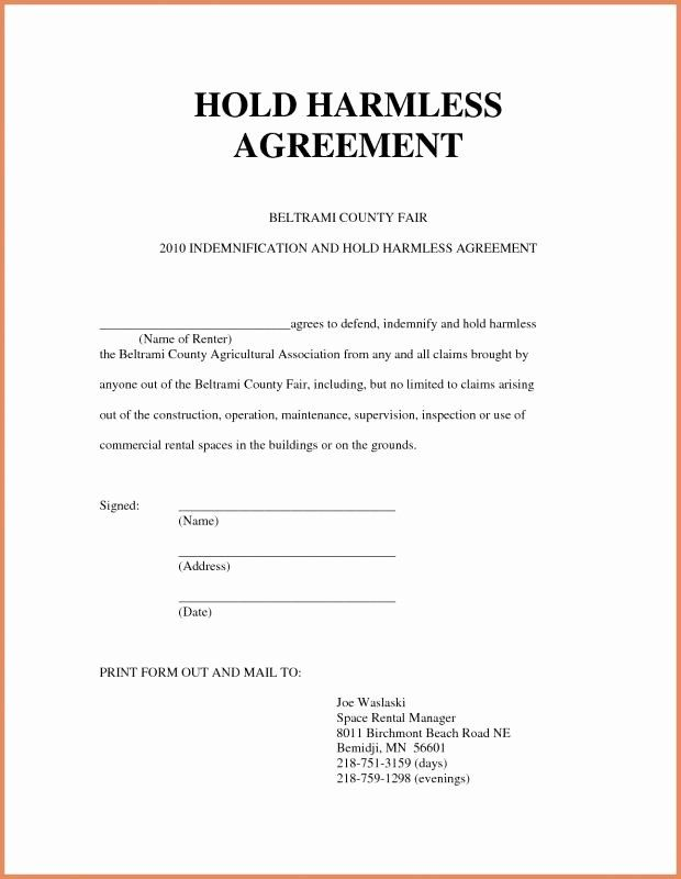 40 Hold Harmless Letter Template In 2020 Letter Templates