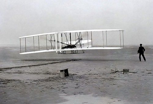 First successful flight of the 1903 Wright Brothers Flyer
