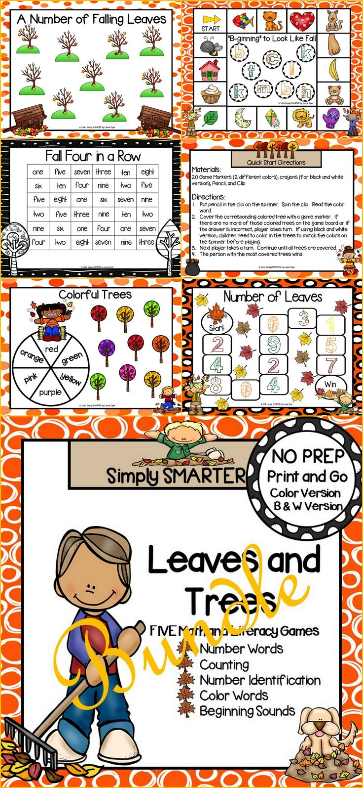 Are you looking for NO PREP literacy and math games for preschool, kindergarten, or first grade? Then download this bundle and go!  Enjoy this phonics and math resource which is comprised of FIVE different LEAVES AND TREES themed games complete with a color version and black and white version of each game.  The games can be used for small group work, partner collaboration, or homework!
