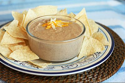 Cheesy Refried Bean Dip from scratch, easy and delicious.