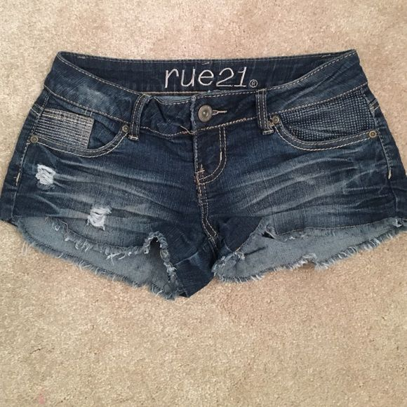 DONATING LAST CALL BEFORE DONATION ON MAY 12th! rue 21 jean shorts size 1/2. Has some stretch. Rue 21 Shorts Jean Shorts