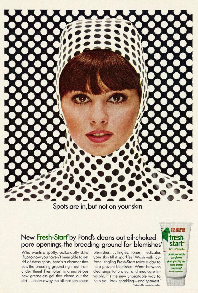 1966 Beauty Ad, Pond's Fresh-Start Skin Care, with Pretty Brunette Model Sandy Hilton