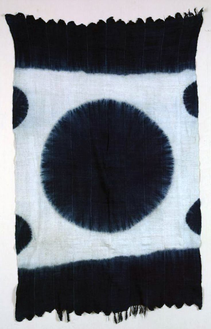 Africa | Woman's wrapper from the Tiv people of Nigeria | Cotton; hand spun, hand woven, indigo tie-dyed