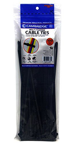 "Cambridge 100 pcs- 11"" 75 Lbs Tensile Strength, Standard Duty Nylon Cable Ties, UV Black >>> Click image to review more details."