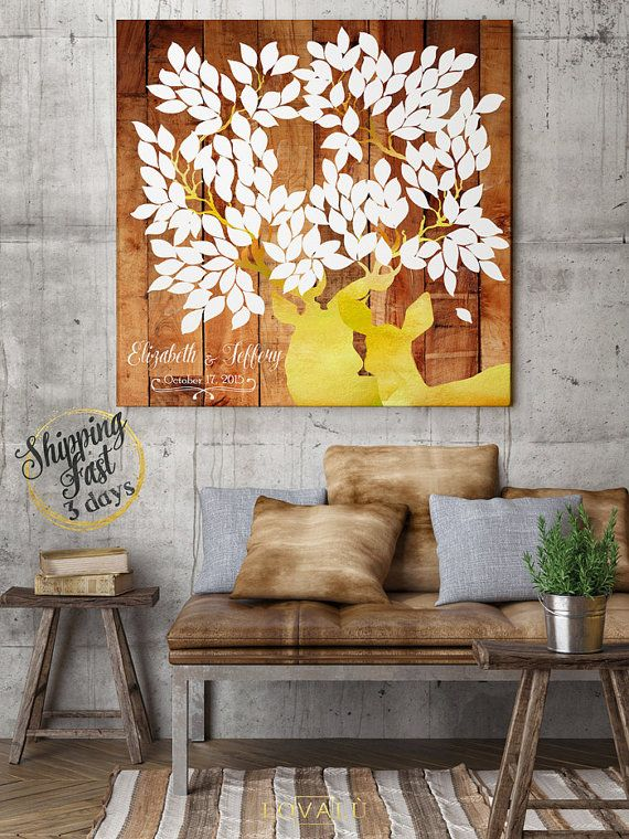 Rustic Wedding guest book with deers in yellow. Print on canvas. Boho wedding theme. 150 Guests