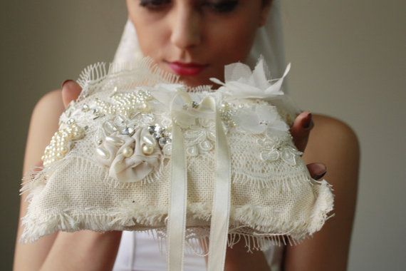 Rustic Ring Pillows ivory ring bearer by cornerofthegarden on Etsy, $69.90