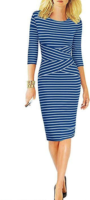 429a0d3a779 REPHYLLIS Women 3 4 Sleeve Striped Wear to Work Business Cocktail Party  Summer Pencil Dress Blue S at Amazon Women s Clothing store