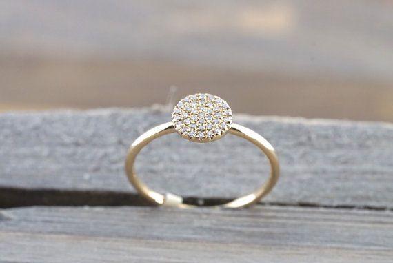 14 k Solid gelb Gold Diamond ebnen Kreis Runde Diamond Ring