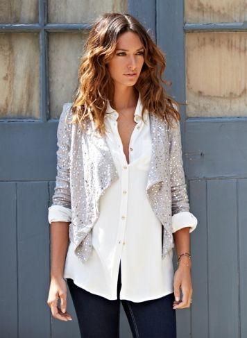 Kate Sequin Jacket, Coco Shirt, Freja Super Stretch Skinny Jeans