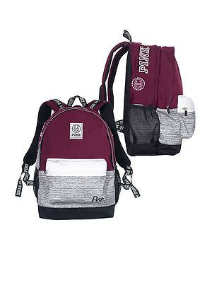 NWT VICTORIA'S SECRET PINK CAMPUS BACKPACK MAROON RUBY GRAY MARL BOOK BAG 2016