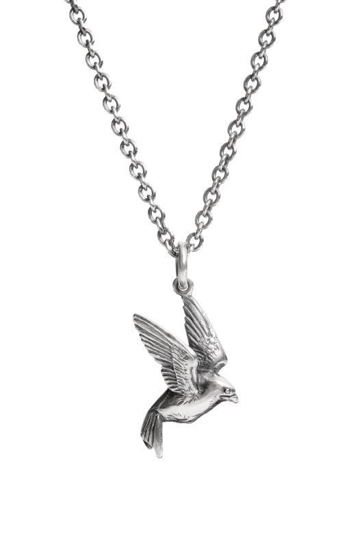swallow necklace in sterling silver. Chris Hawkins Jewellery.