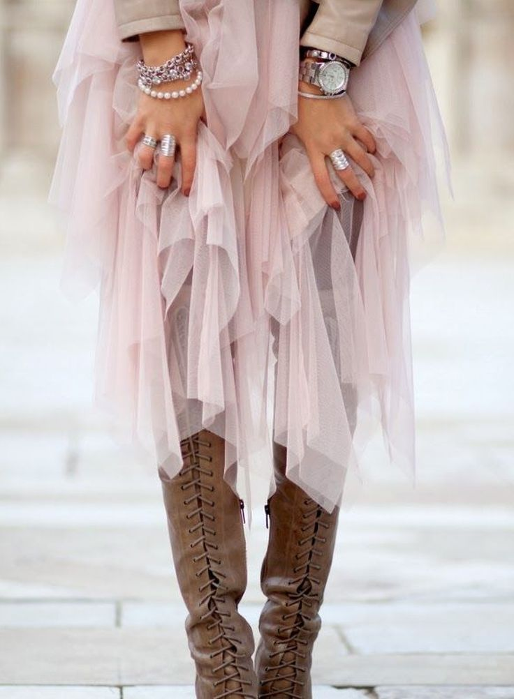 pink tulle skirt + brown boots