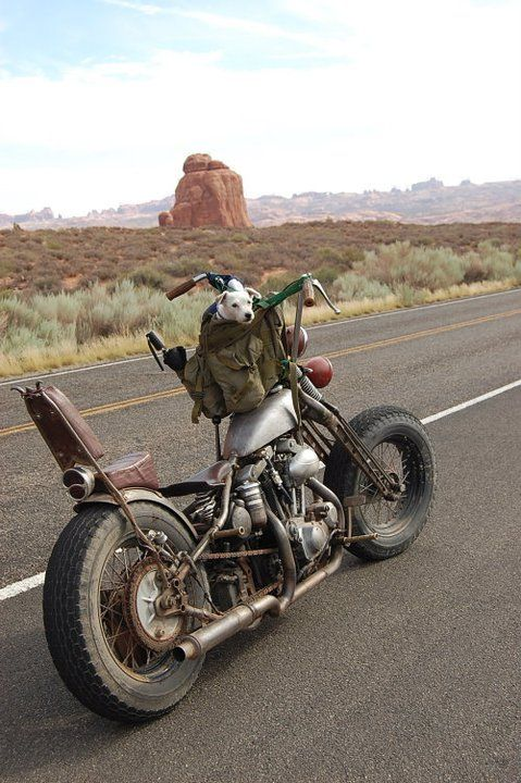 Nice old custom bike on an open road..