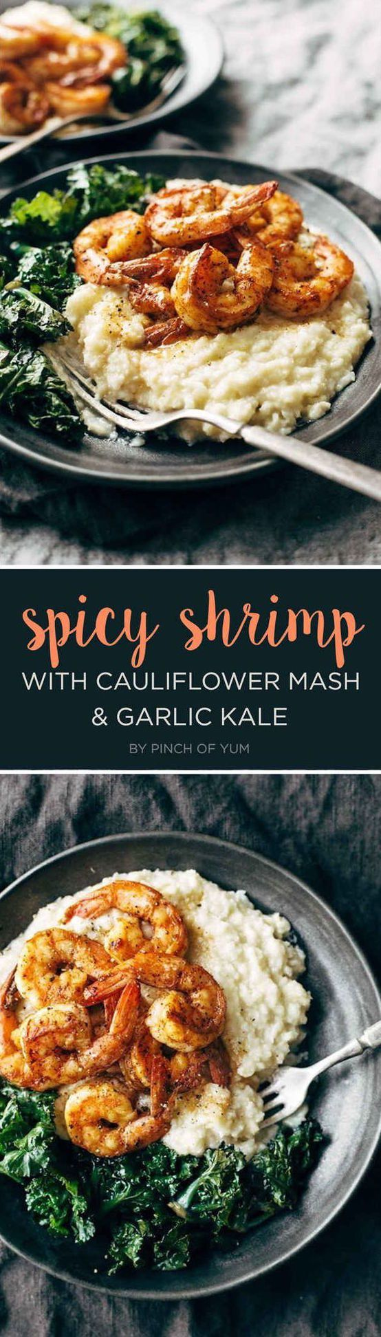 Spicy Shrimp with Garlic Kale and Cauliflower Mash | 7 Tasty Dinner Recipes You'll Want To Bookmark
