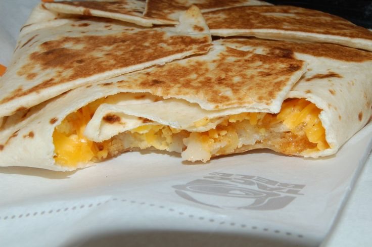 Here's Taco Bell's new A.M. Crunchwrap, a highlight on their new breakfast menu.