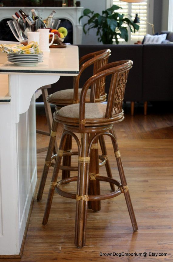 Vintage Bentwood swivel bar stools / Rattan by BrownDogEmporium