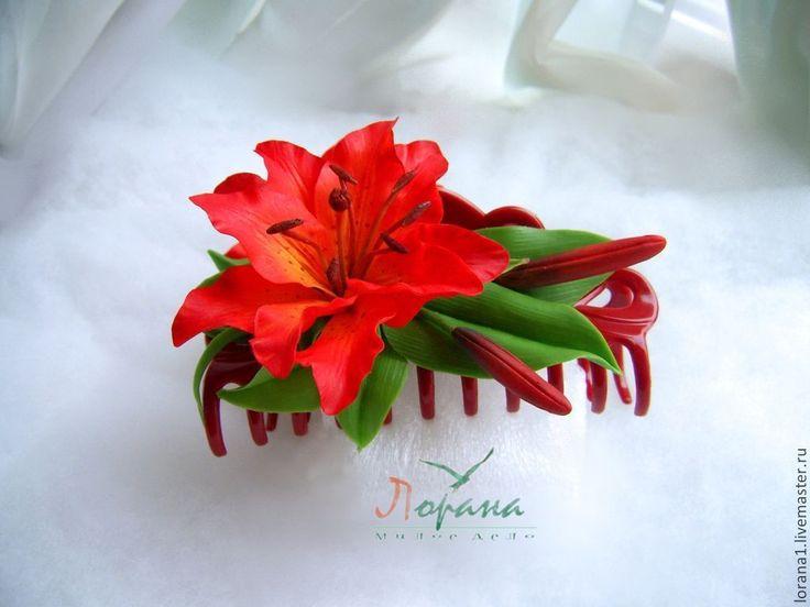 """Заколка-краб """"Рыжая лилия"""" - рыжий,лилия,оригинальный подарок,цветы ручной работы"""