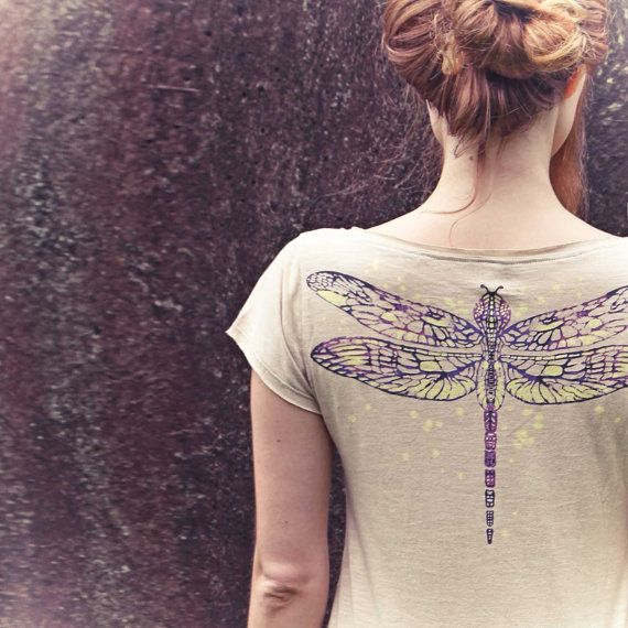 Womens Ivory Dragonfly Tee Original art of a detailed by Shovava on Etsy.