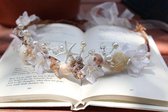Beach Wedding Crown, Seashell Starfish Peals Crystals & Flowers Tiara, 'By The Sea', accessory, wedding accessory - NADYA -